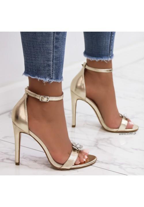 Sandałki Szpilki Klasyczne Złote Lolu