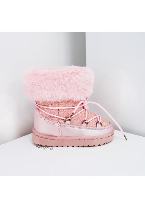 Śniegowce Różowe Brokatowe Snow Kids