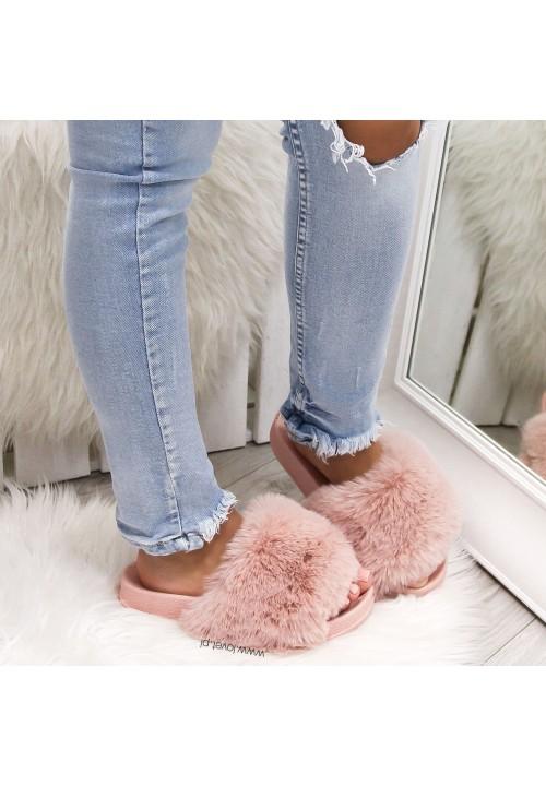 Klapki Futrzaki Pink Puchacze Poli