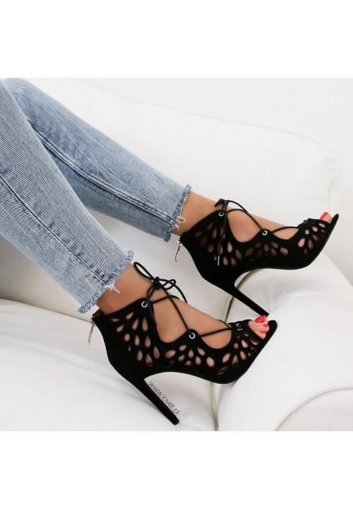Sandałki Szpilki Zamszowe Czarne Ażurowe Alita