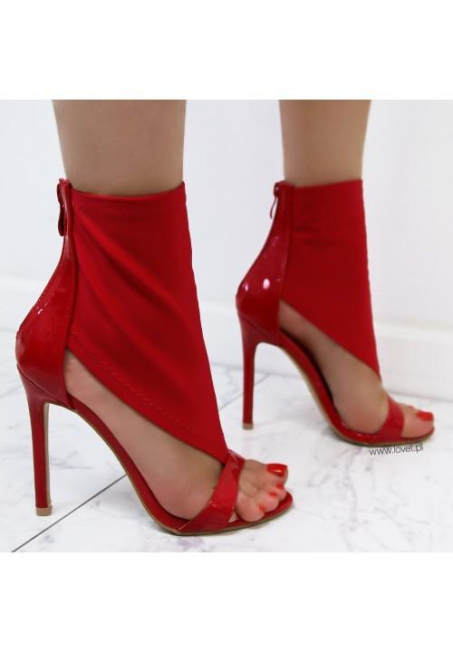 Sandałki Szpilki Czerwone Alisa