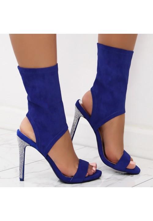 Sandałki Szpilki Zamszowe Kobaltowe Senja