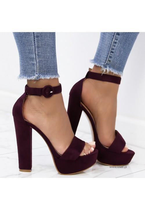 Sandały Platformy Fioletowe Zamszowe Janette