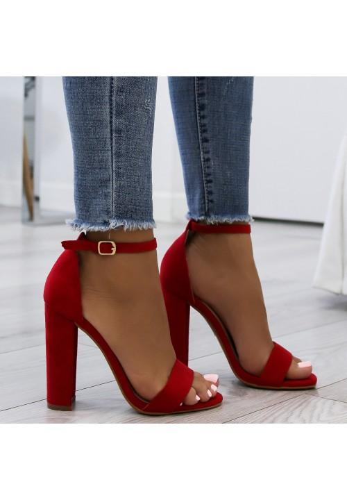 Sandały na Słupku Klasyczne Zamsz Czerwone Ariel