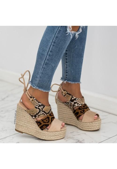 Sandały Espadryle Koturny Beżowe Estelle