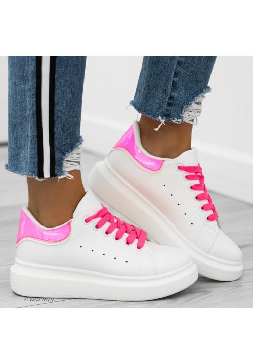 Trampki Klasyczne Białe Neon Pink Paddy