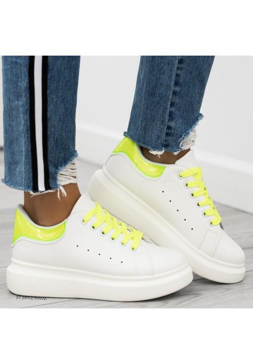Trampki Klasyczne Białe Neon Yellow Paddy