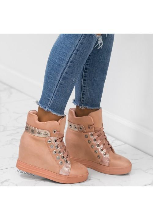 Trampki Sneakersy Koturny Rózowe Anni