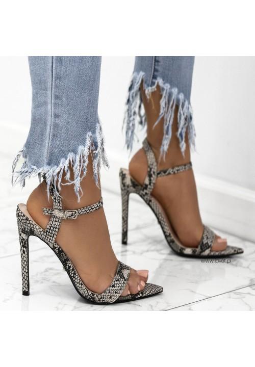 Sandałki Szpilki Wężowe Brązowe Celia