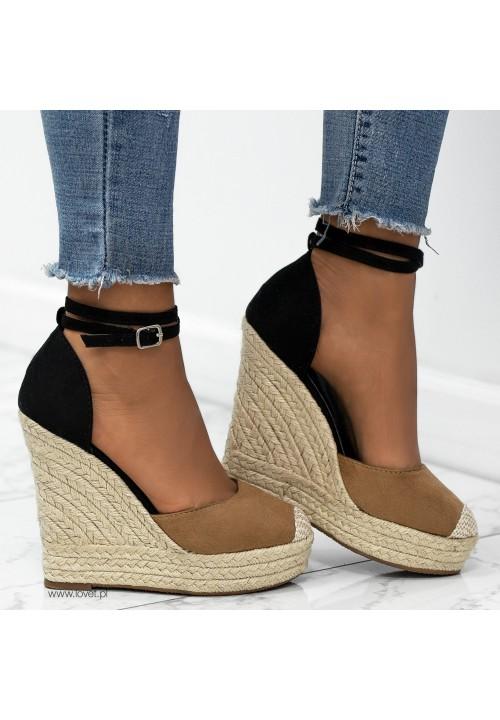 Sandałki Espadryle Zamszowe Camel Tina
