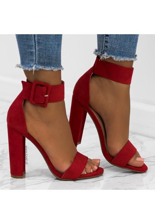 Sandały na Słupku Czerwone Klasyczne Zamsz Adelia