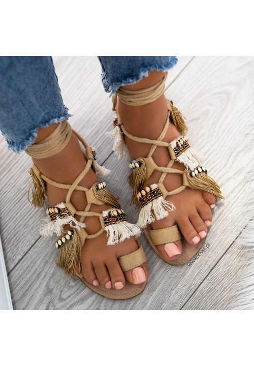 Sandałki Płaskie Beżowe Boho Sandals
