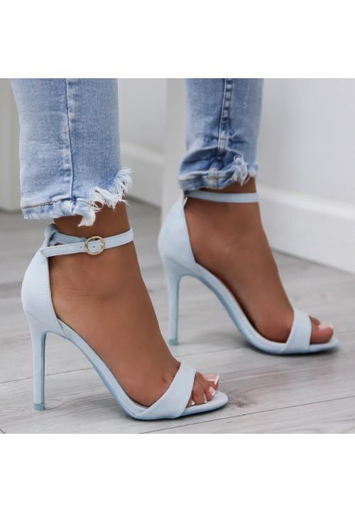 Sandałki Klasyczne Zamszowe Niebieskie Arlette