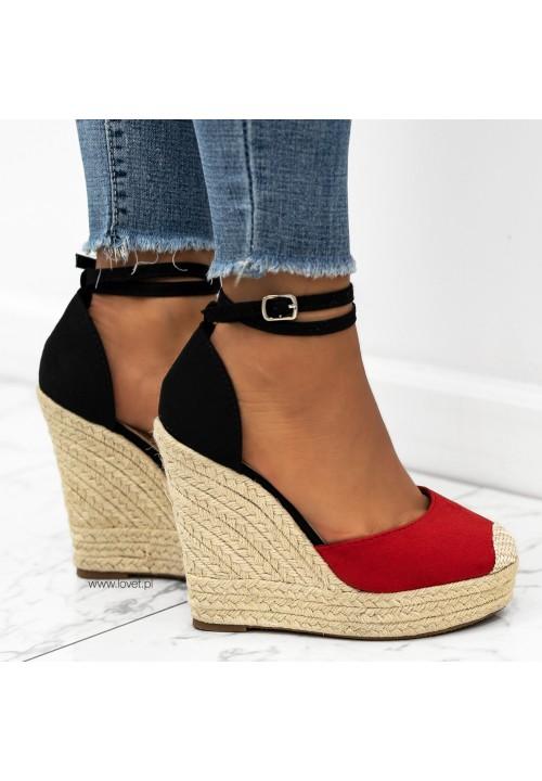 Sandałki Espadryle Zamszowe Koturny Czerwone Tina