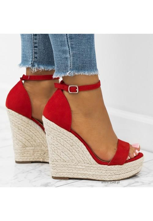 Sandały Koturny Zamszowe Czerwone Brenna