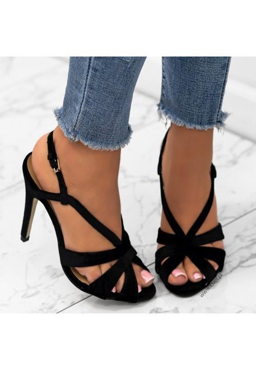 Sandałki Szpilki Welurowe Czarne Aline