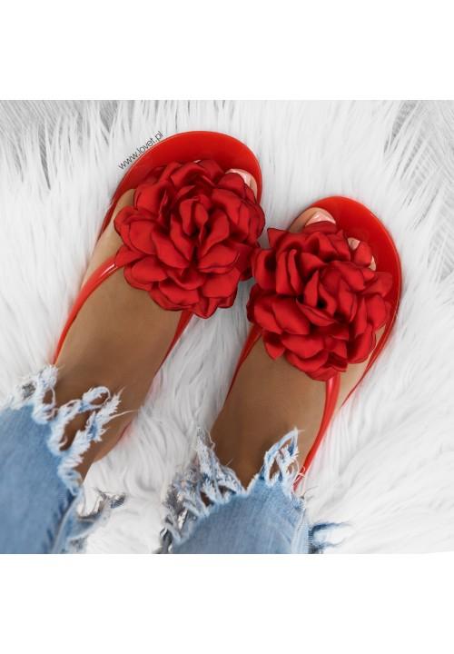 Klapki Japonki Czerwone New JellyFlower