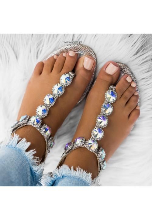 Sandałki Japonki z Kryształkami Srebrne Evan
