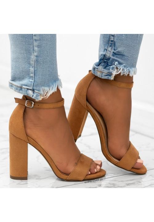 Sandały na Słupku Zamszowe Camel Ariello