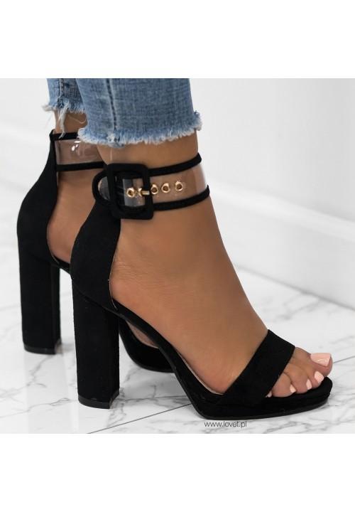 Sandały Zamszowe na Słupku Czarne Harriet