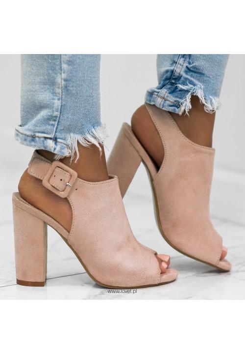 Sandałki na Słupku Zamszowe Beżowe Ada New