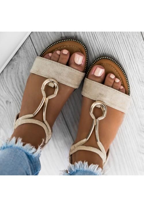 Sandałki Płaskie Zamszowe Beżowe Coco