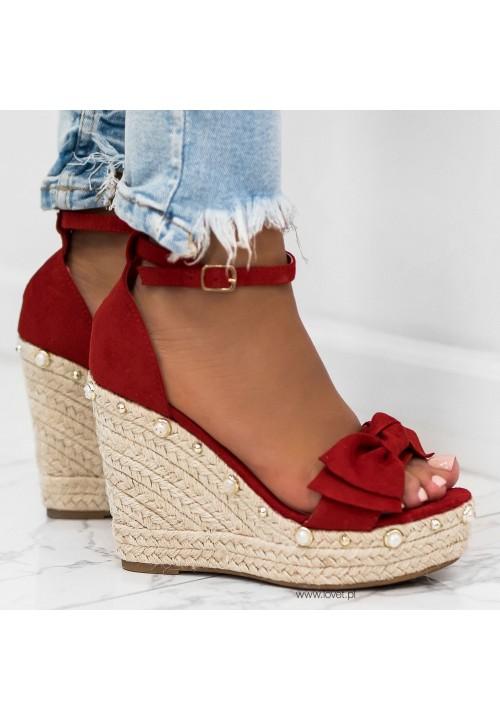 Sandały Espadryle Zamszowe na Koturnie Czerwone Krissy