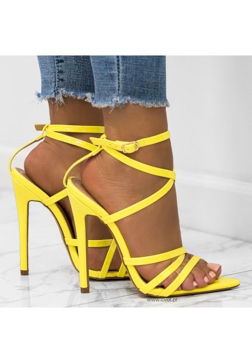 Sandałki Szpilki Lakierowane Żółte Louise