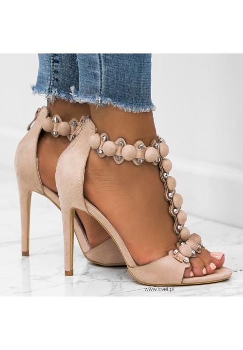 Sandały Szpilki Zamszowe Beżowe Mariette