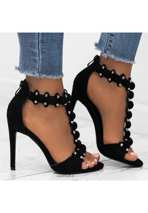 Sandały Szpilki Zamszowe Czarne Mariette