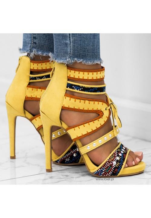 Sandałki Szpilki Zamszowe Żółte Britney