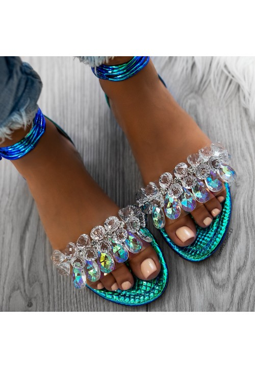 Sandałki Opalizujace Zielono Niebieskie z Kryształkami Anabella