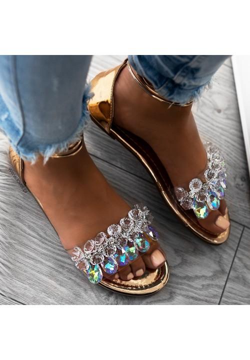 Sandałki Lustrzane Różowe Złoto z Kryształkami Anabella