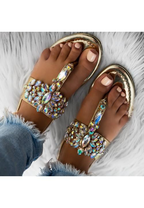 Sandałki Japonki Lustrzane Złote Sonne