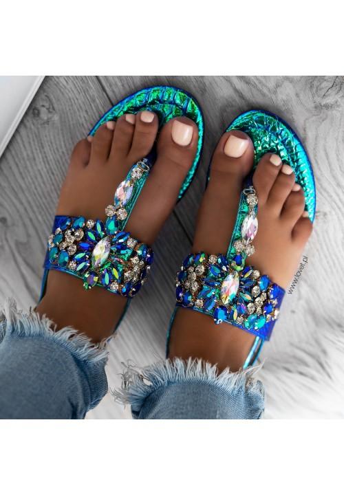 Sandałki Japonki Opalizujące Zielono Niebieskie Sonne