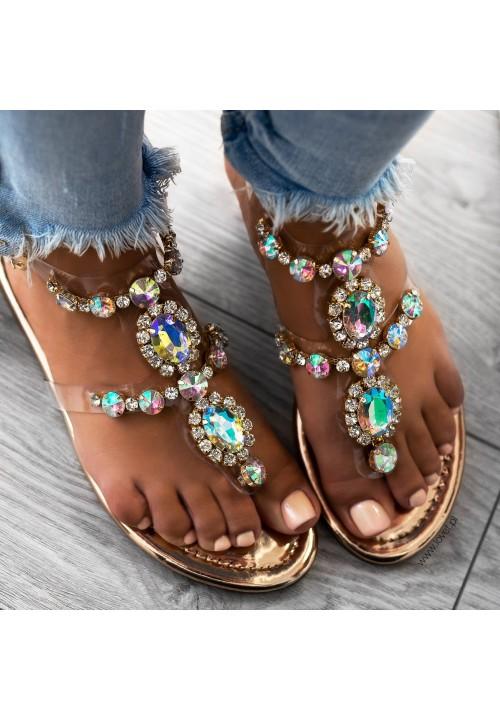 Sandałki Japonki Lustrzane Różowe Złoto Lara