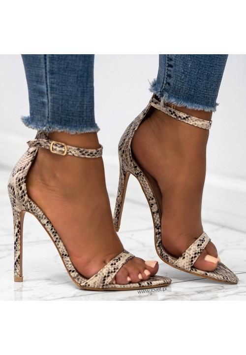 Sandałki Szpilki Wężowe Beżowe Alix