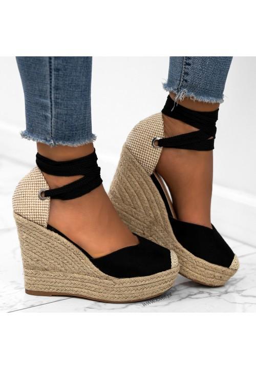 Sandały Espadryle na Koturnie Czarne Emmi