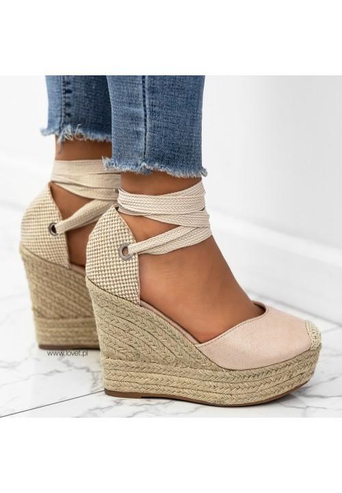 Sandały Espadryle na Koturnie Beżowe Emmi