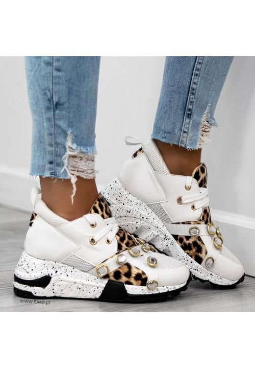 Trampki Sportowe Sneakersy Białe Power Crystal