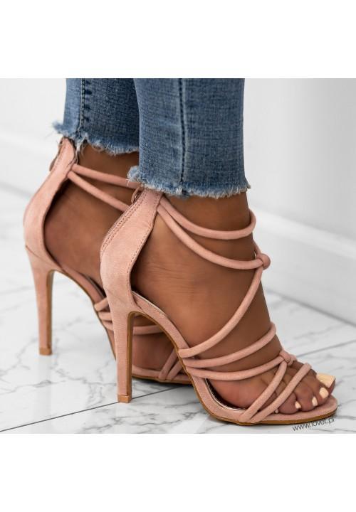 Sandałki Szpilki Zamszowe Różowe Abigail