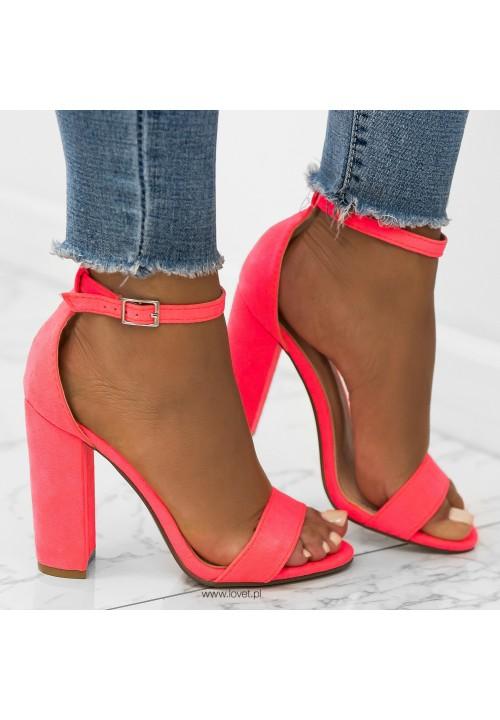 Sandały na Słupku Zamszowe Neonowy Różowy Ariel
