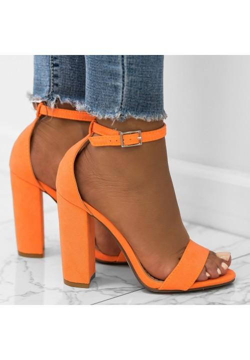 Sandały na Słupku Zamszowe Neonowy Pomarańczowy Ariel