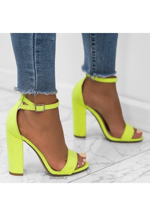 Sandały na Słupku Zamszowe Neonowy Zielono Żółty Ariel