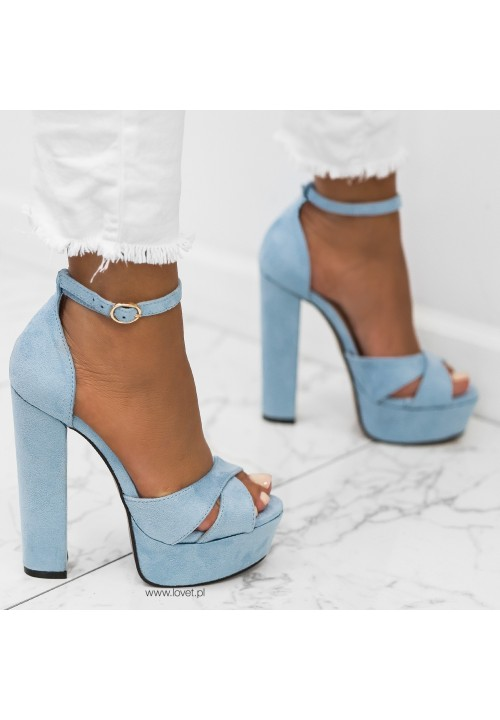 Sandałki Platformy Zamszowe na Słupku Niebieskie Sissy