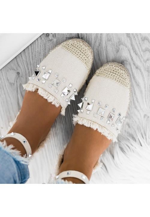 Sandały Espadryle z Ćwiekami Beżowe Molly
