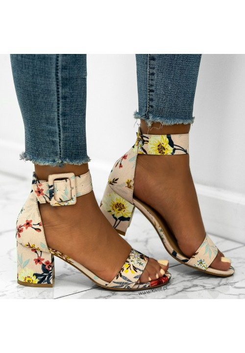Sandały na Słupku Różowe w Kwiaty Arvelle Flower