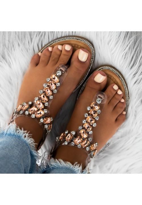 Sandałki Japonki z Kryształkami Różowe Złoto Sally