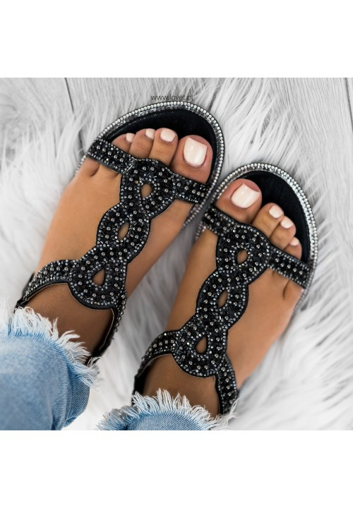 Sandałki Klasyczne Wsuwane Czarne Sandie