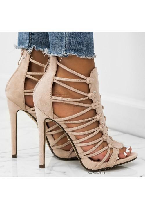 Sandałki Szpilki Zamszowe Beżowe Gladiatorki Carry